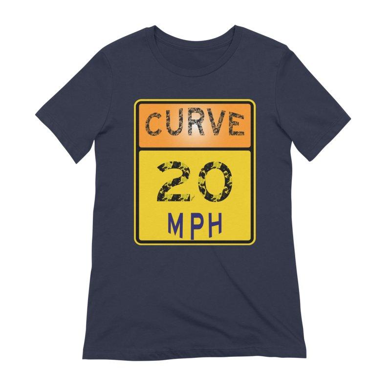 Curve 20 MPH Sign Women's Extra Soft T-Shirt by artworkdealers Artist Shop