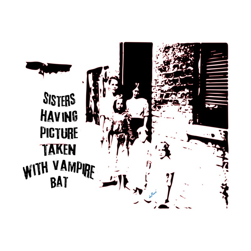 Sisters having picture taken with vampire bat by artworkdealers Artist Shop