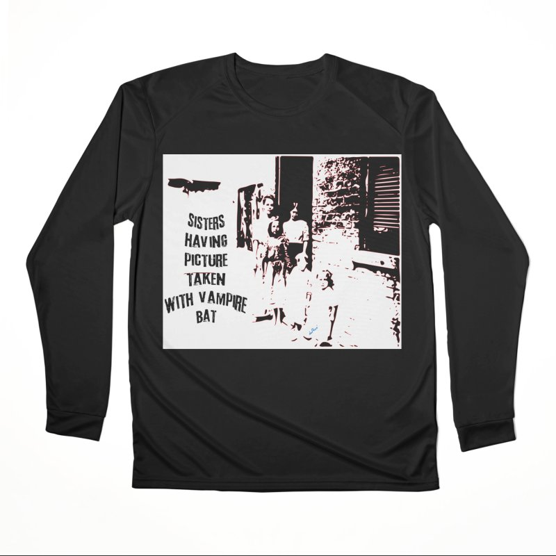 Sisters having picture taken with vampire bat Women's Performance Unisex Longsleeve T-Shirt by artworkdealers Artist Shop