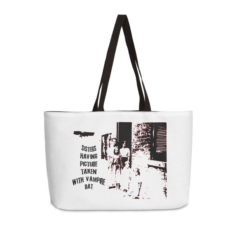 Sisters having picture taken with vampire bat Accessories Weekender Bag Bag by artworkdealers Artist Shop