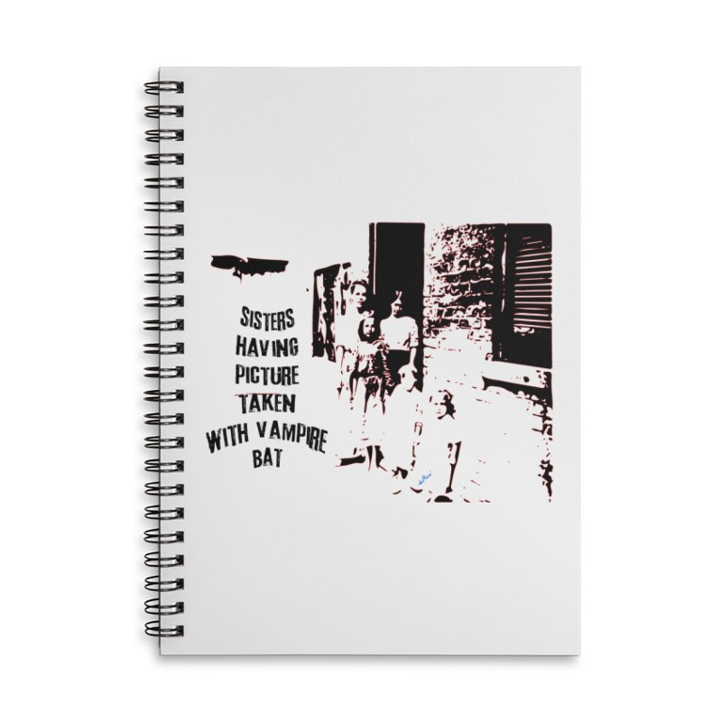 Sisters having picture taken with vampire bat Accessories Lined Spiral Notebook by artworkdealers Artist Shop