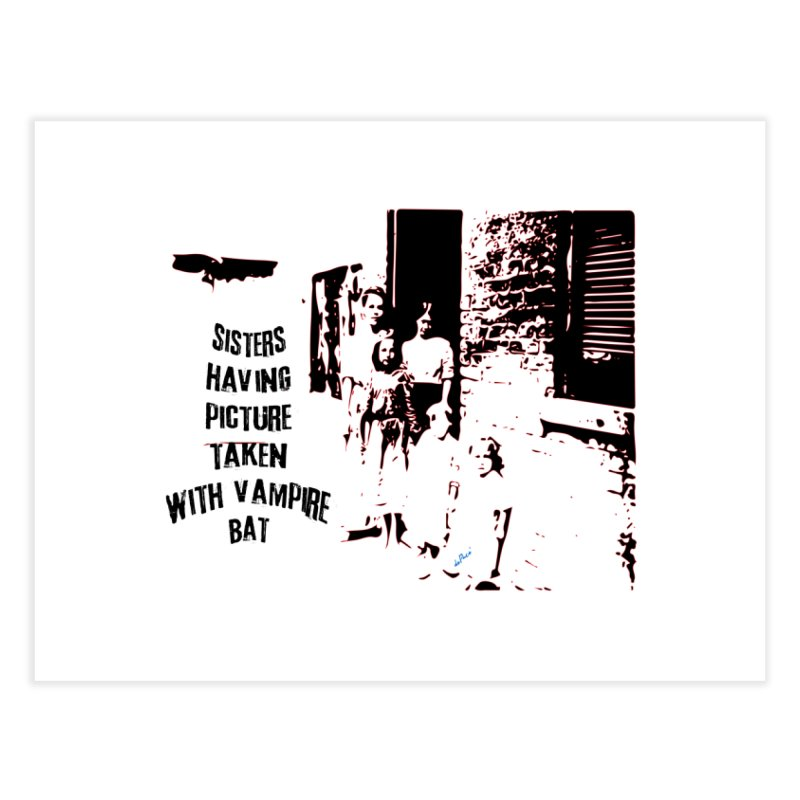 Sisters having picture taken with vampire bat Home Fine Art Print by artworkdealers Artist Shop