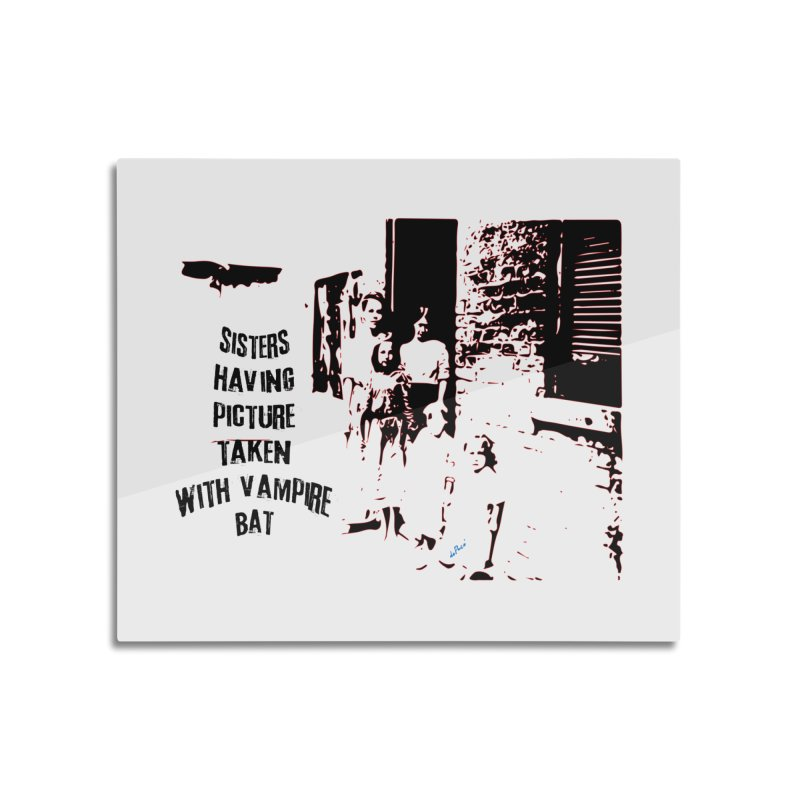 Sisters having picture taken with vampire bat Home Mounted Acrylic Print by artworkdealers Artist Shop