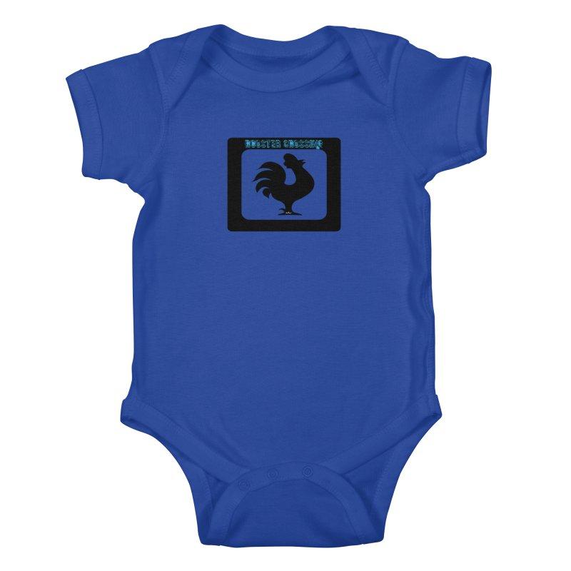 Rooster Crossing Sign Kids Baby Bodysuit by artworkdealers Artist Shop