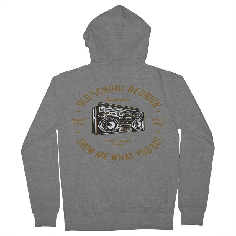 Old School Boombox Women's French Terry Zip-Up Hoody by artworkdealers Artist Shop