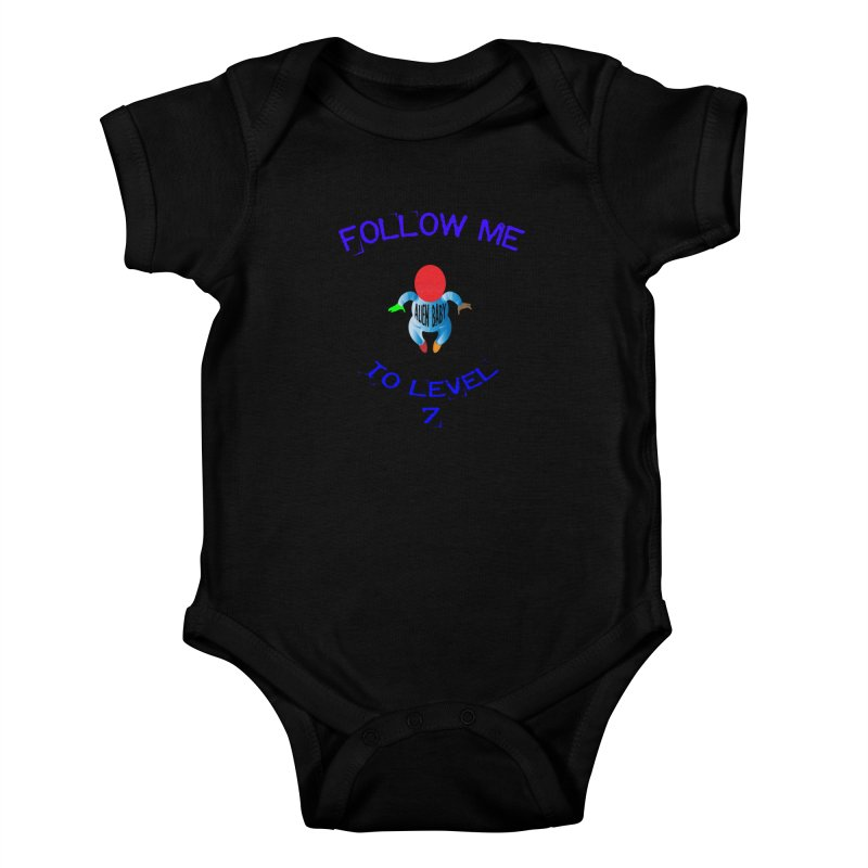 Follow me to level 7 Kids Baby Bodysuit by artworkdealers Artist Shop