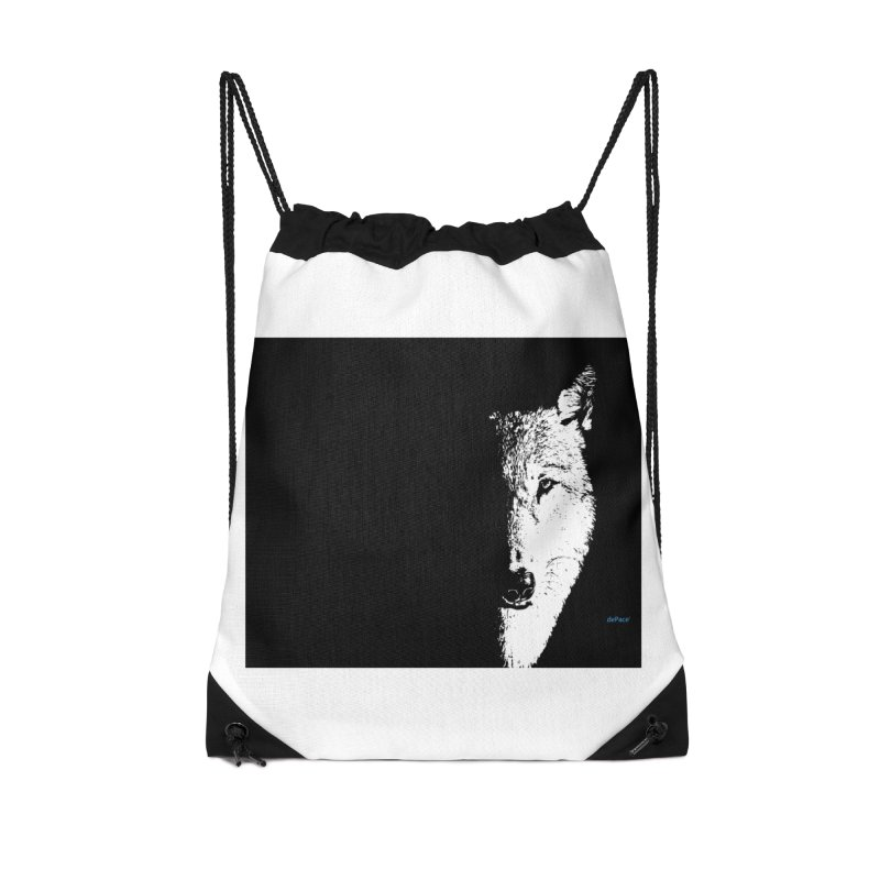 Lone Wolf Accessories Drawstring Bag Bag by artworkdealers Artist Shop