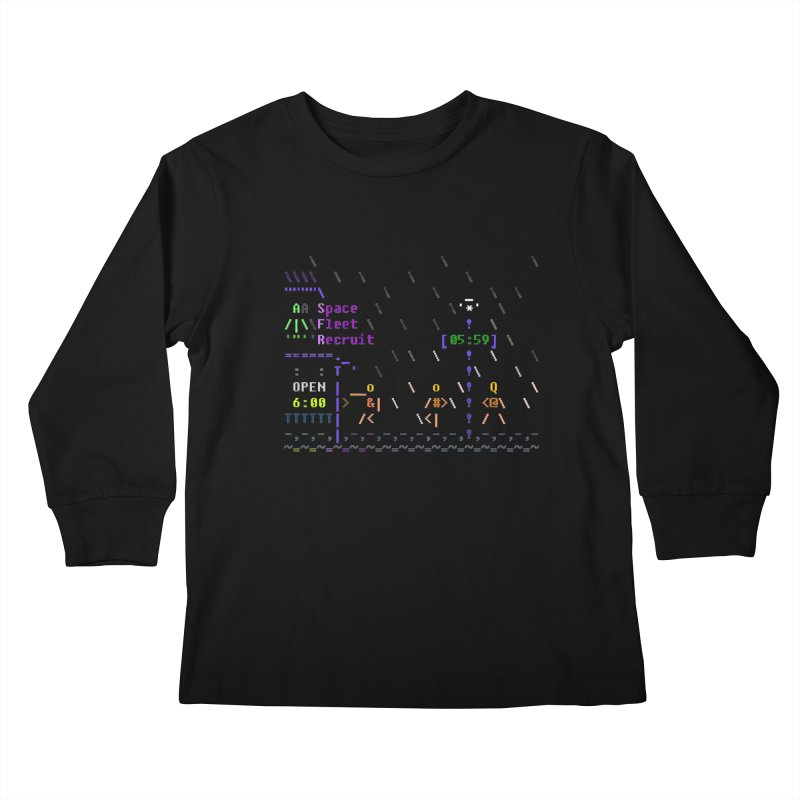 Space Fleet Recruit Kids Longsleeve T-Shirt by ASCIIDENT