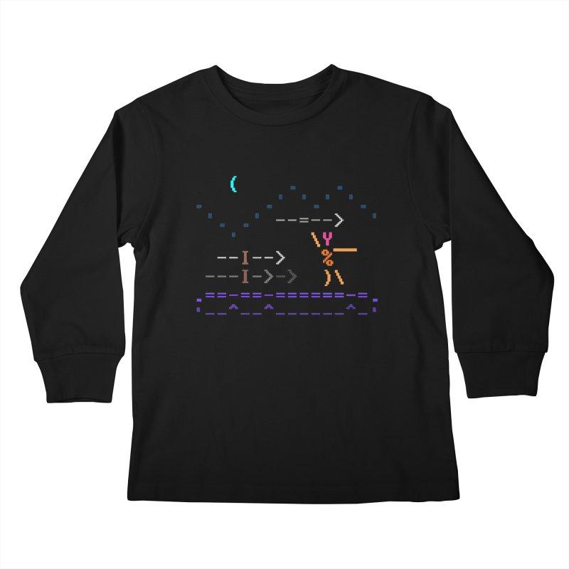 Spear-man Kids Longsleeve T-Shirt by ASCIIDENT