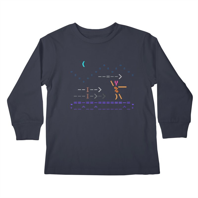 Spear-man Kids Longsleeve T-Shirt by ASCIIDENT