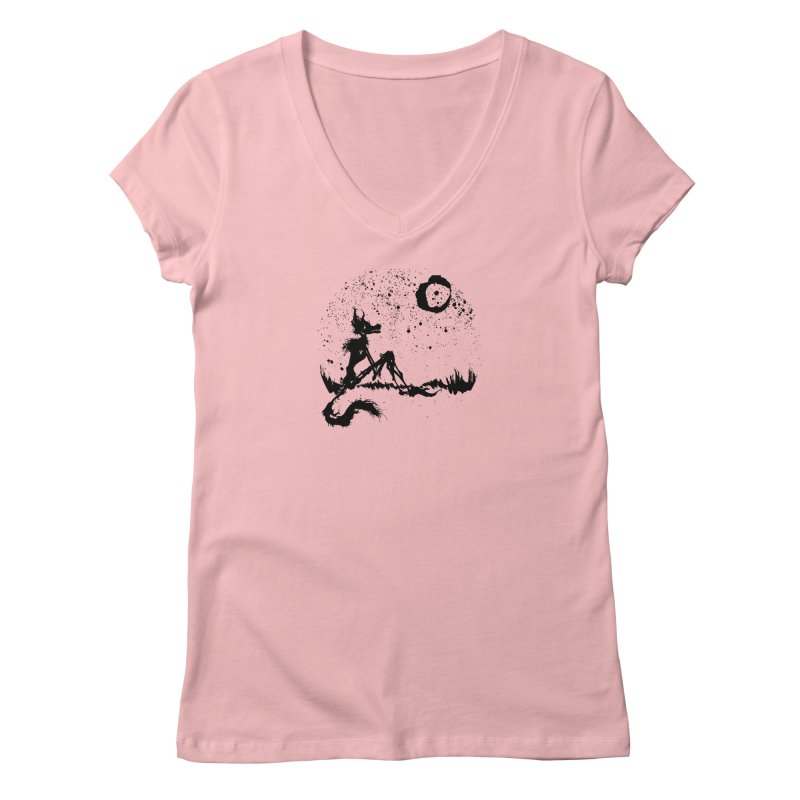 I Wish I Was The Moon Women's V-Neck by ashewednesday's Artist Shop