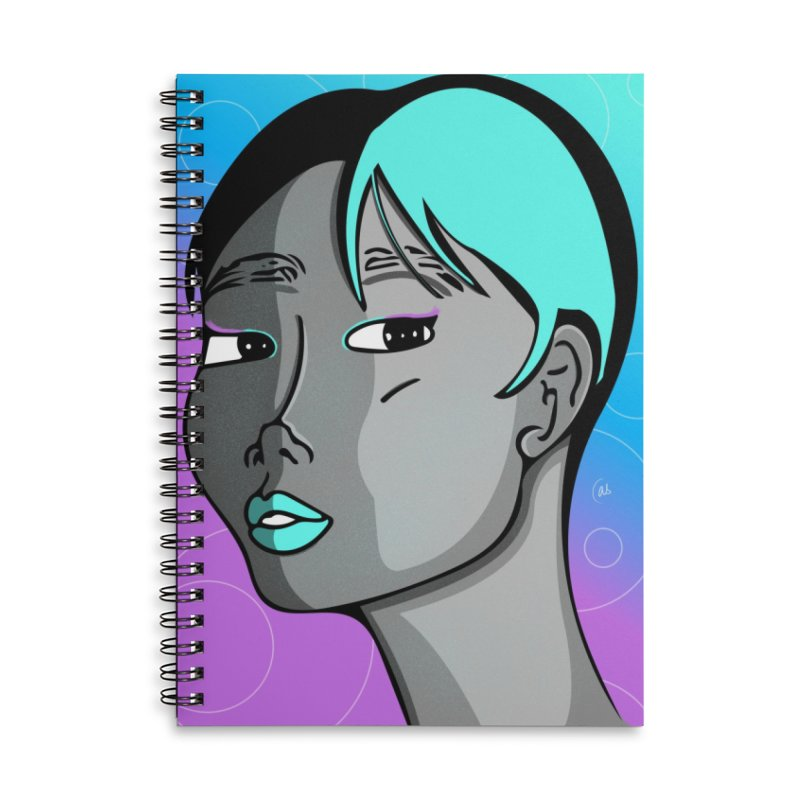 Lady Neon Accessories Lined Spiral Notebook by ashleysladeart's Artist Shop