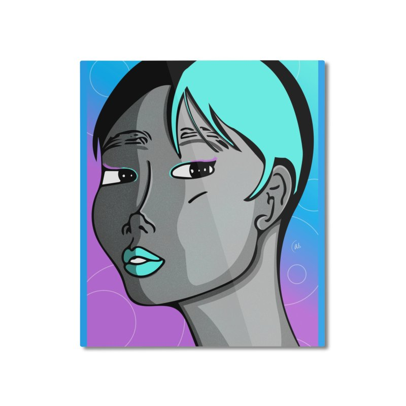 Lady Neon Home Mounted Aluminum Print by ashleysladeart's Artist Shop
