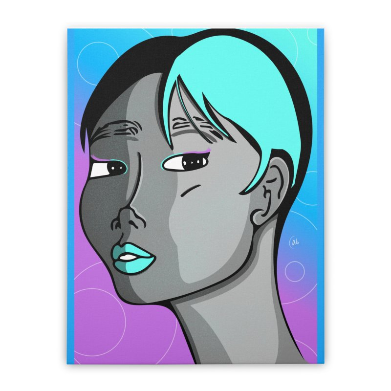 Lady Neon Home Stretched Canvas by ashleysladeart's Artist Shop