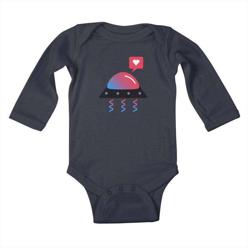 Space Love Kids Baby Longsleeve Bodysuit by ashleysladeart's Artist Shop