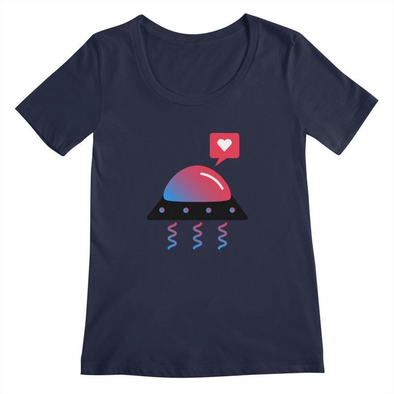 Space Love Women's Regular Scoop Neck by ashleysladeart's Artist Shop
