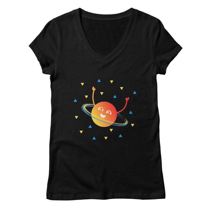 Party Planet Women's Regular V-Neck by ashleysladeart's Artist Shop