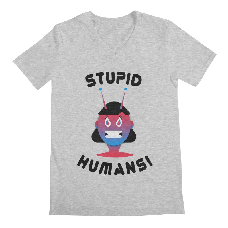 Stupid Humans! Men's Regular V-Neck by ashleysladeart's Artist Shop