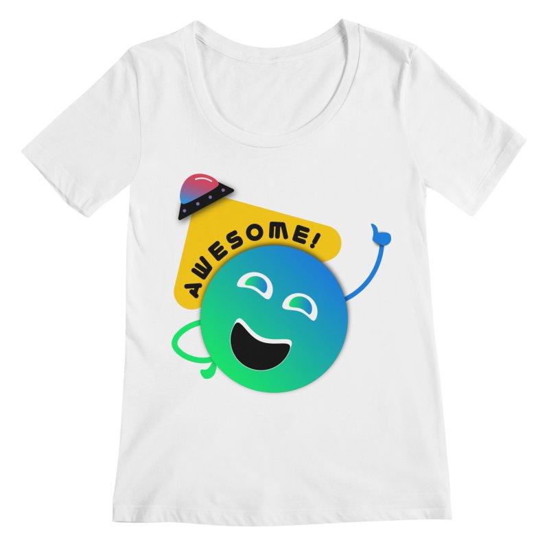 Awesome Planet! Women's Regular Scoop Neck by ashleysladeart's Artist Shop