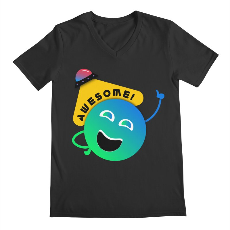 Awesome Planet! Men's Regular V-Neck by ashleysladeart's Artist Shop