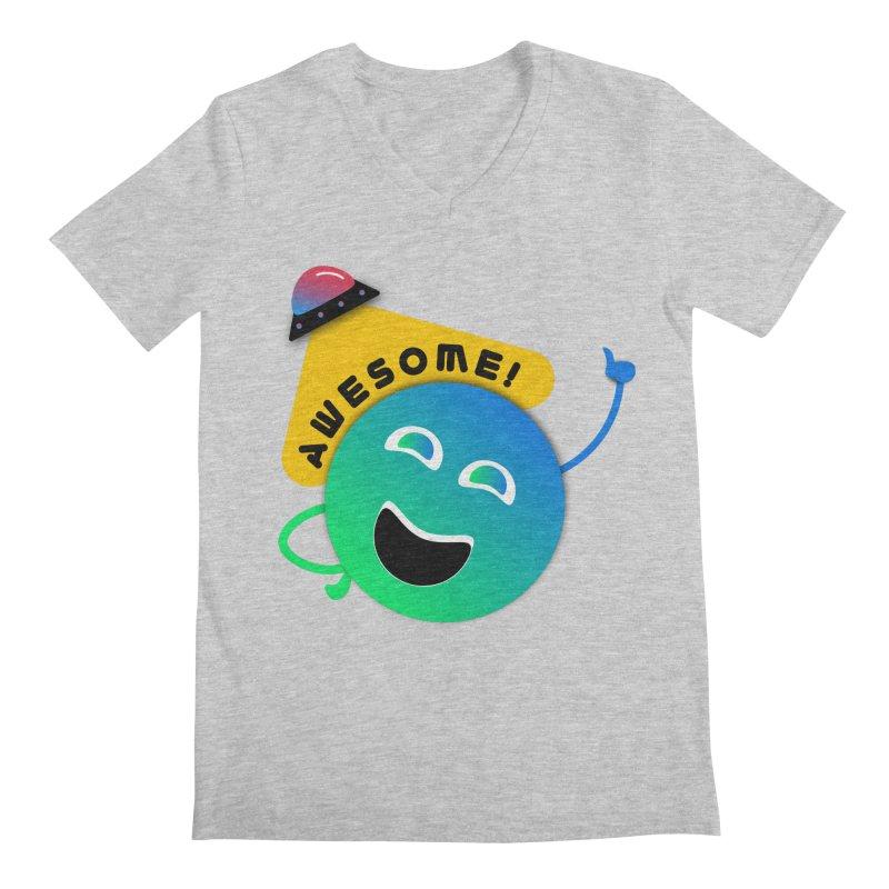 Awesome Planet! Men's Regular V-Neck by ashleysladeart's Artist Shop