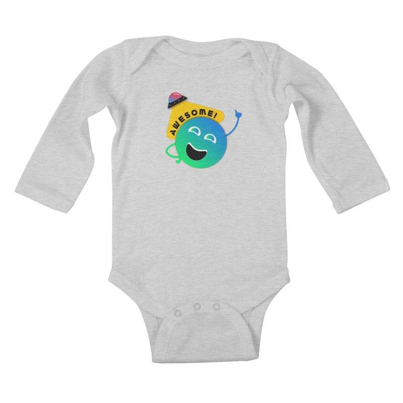 Awesome Planet! Kids Baby Longsleeve Bodysuit by ashleysladeart's Artist Shop