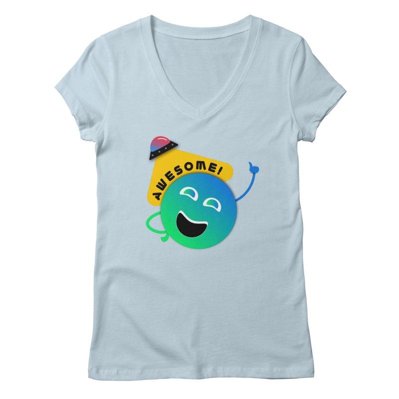 Awesome Planet! Women's Regular V-Neck by ashleysladeart's Artist Shop