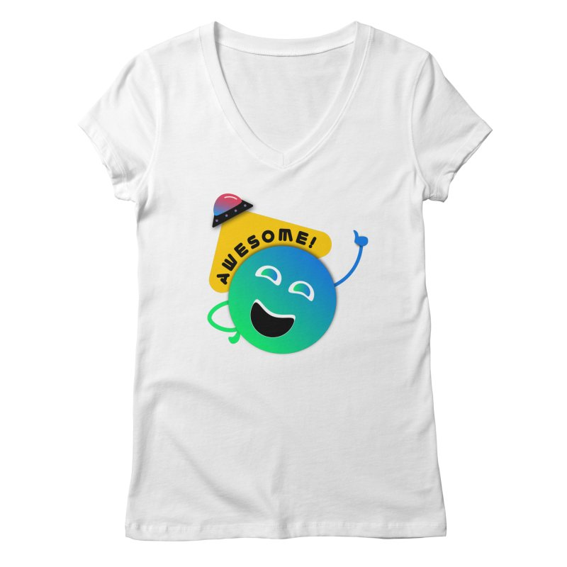 Awesome Planet! Women's Regular V-Neck by ashleysladeart's Artist Shop