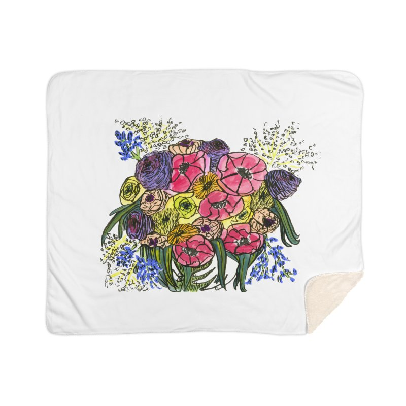 Sorry This Is Happening To You Bouquet Home Sherpa Blanket Blanket by Ashley Topacio's Artist Shop