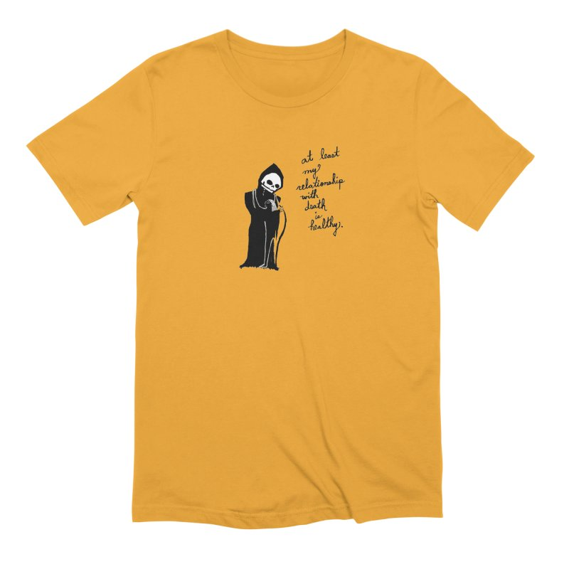 at least my relationship with death is healthy (black ink) Men's Extra Soft T-Shirt by Ashley Topacio's Artist Shop