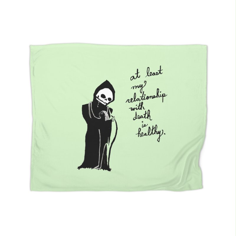at least my relationship with death is healthy (black ink) Home Fleece Blanket Blanket by Ashley Topacio's Artist Shop
