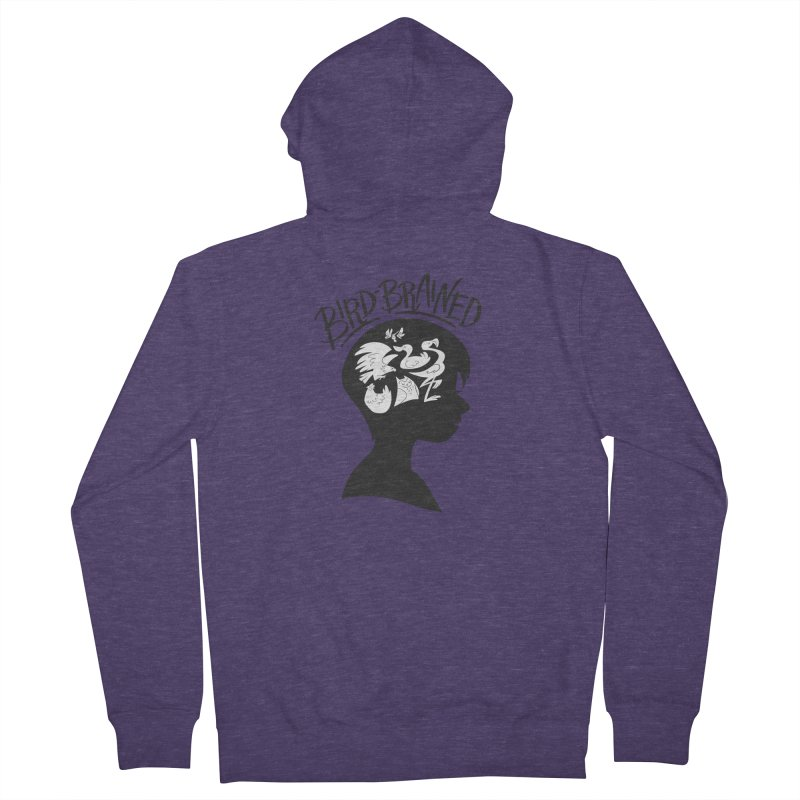 Bird-Brained Men's French Terry Zip-Up Hoody by ashsans art & design shop