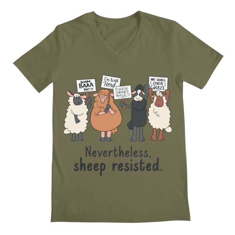 Nevertheless, Sheep Resisted Men's Regular V-Neck by ashsans art & design shop