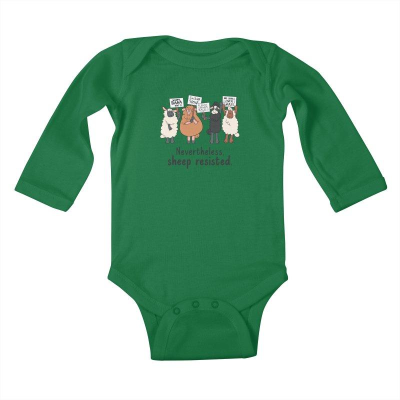 Nevertheless, Sheep Resisted Kids Baby Longsleeve Bodysuit by ashsans art & design shop