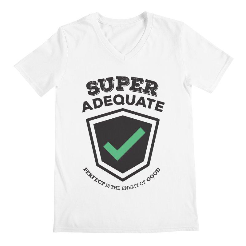 Super Adequate (dark) Men's Regular V-Neck by ashsans art & design shop