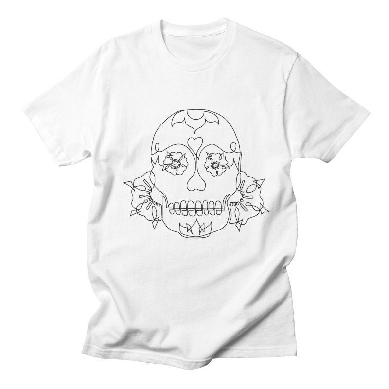 Sugar Skull Men's Regular T-Shirt by asingleline