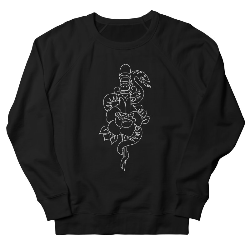 Knife through Rose with Snake Women's French Terry Sweatshirt by asingleline