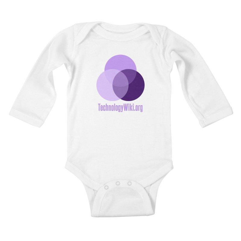 TechnologyWiki.org Logo Gear Kids Baby Longsleeve Bodysuit by Aspect Black™