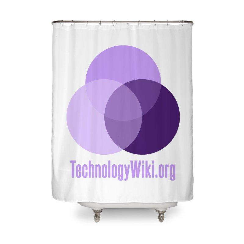TechnologyWiki.org Logo Gear Home Shower Curtain by Aspect Black™