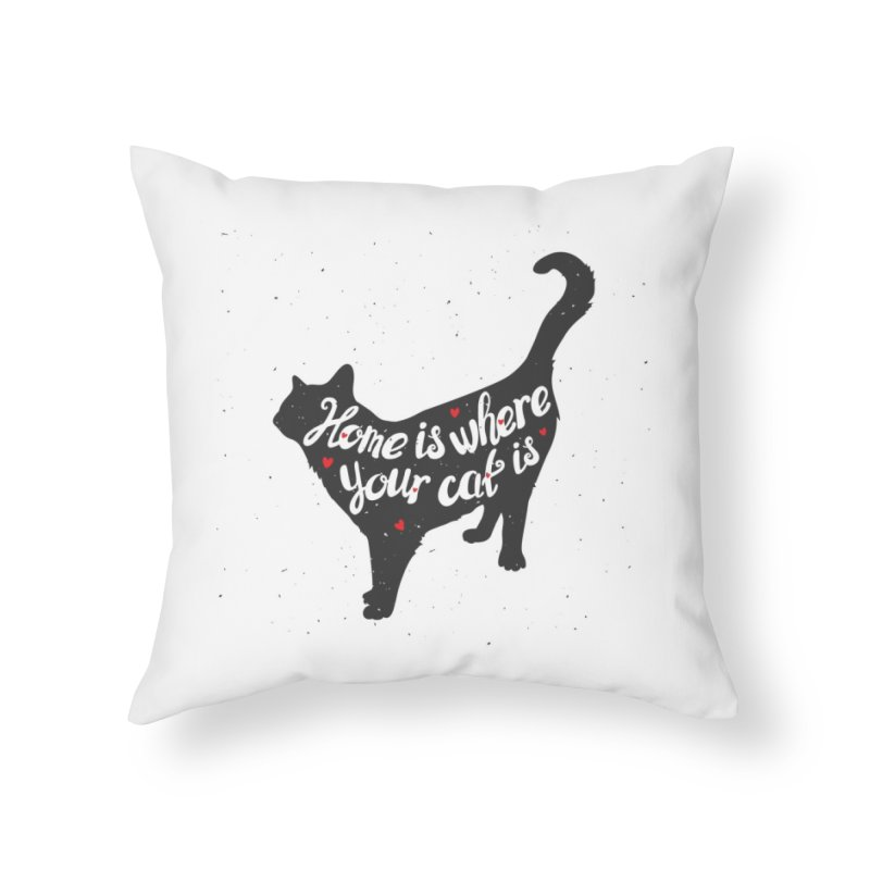 Home Is Where Your Cat Is Home Throw Pillow by Astro Kitty