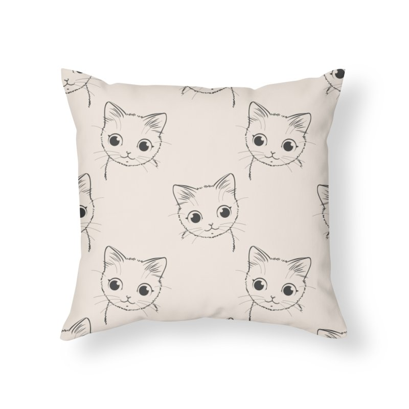 Cats in Beige Home Throw Pillow by Astro Kitty