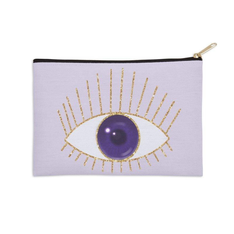 Purple Eye Accessories Zip Pouch by Astro Kitty