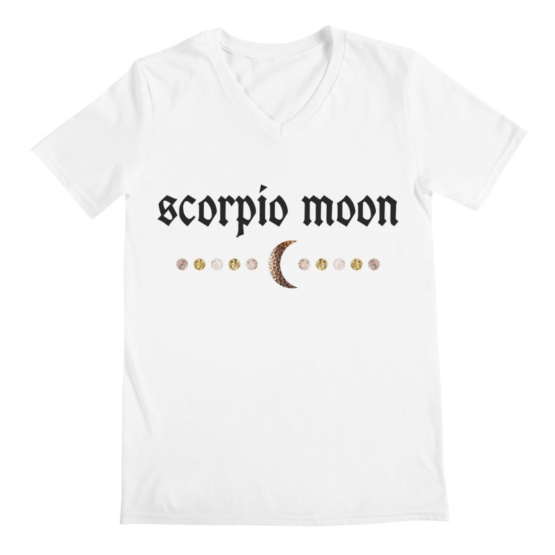 Scorpio Moon White Men's Regular V-Neck by Astro Kitty