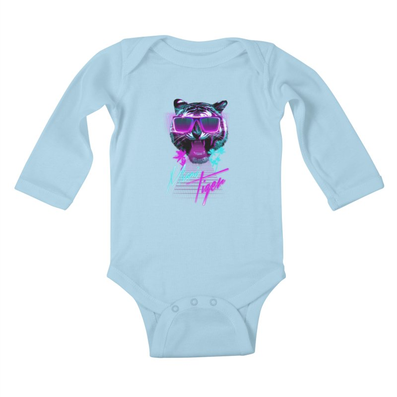Miami tiger Kids Baby Longsleeve Bodysuit by Astronaut's Artist Shop