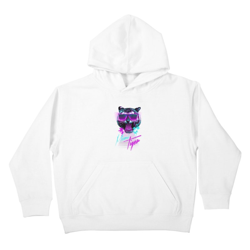Miami tiger Kids Pullover Hoody by Astronaut's Artist Shop