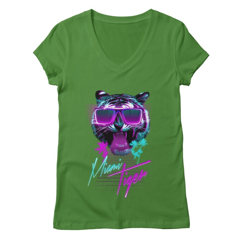 Miami tiger Women's V-Neck by Astronaut's Artist Shop