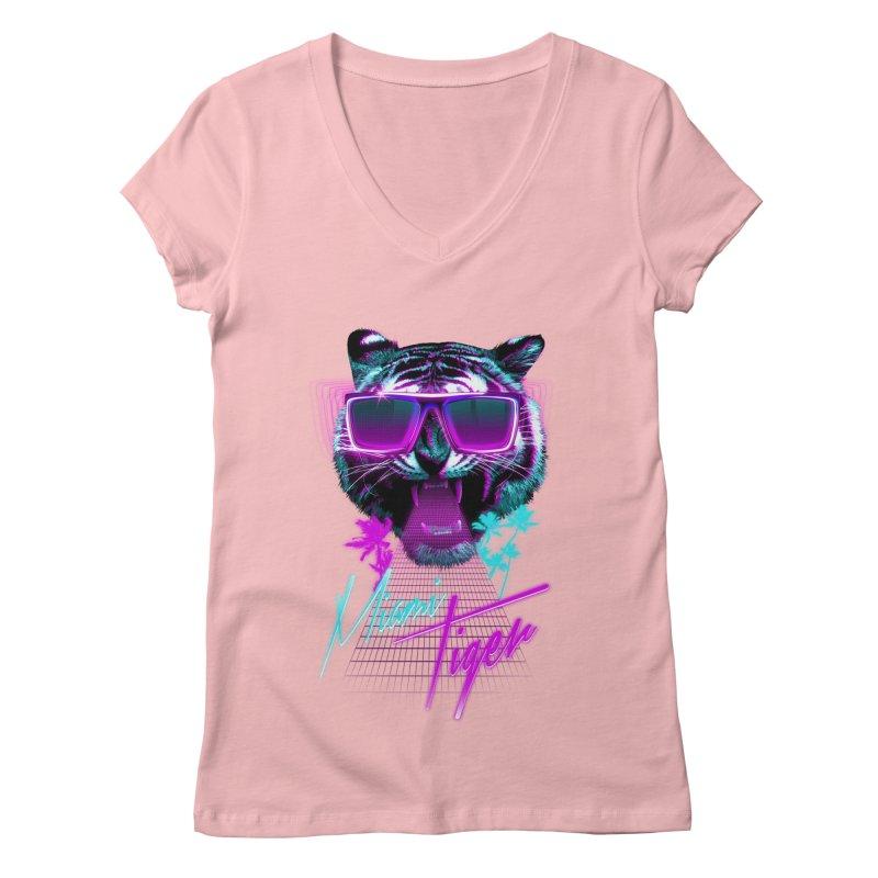 Miami tiger Women's V-Neck by Astronaut's Artist Shop