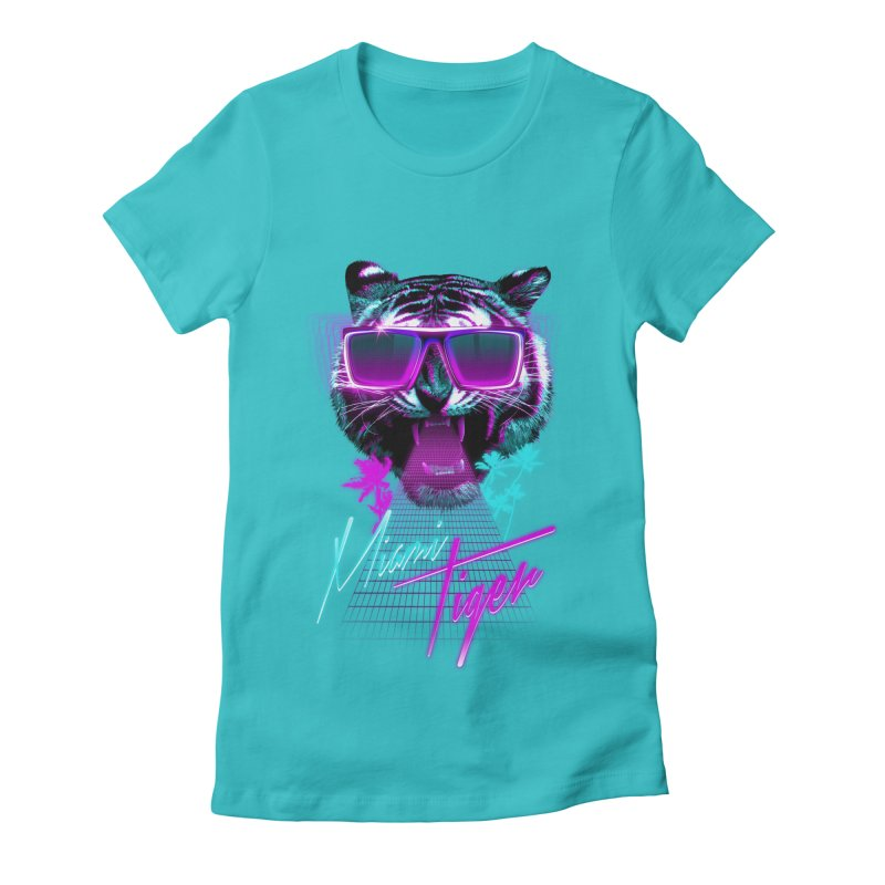 Miami tiger Women's Fitted T-Shirt by Astronaut's Artist Shop