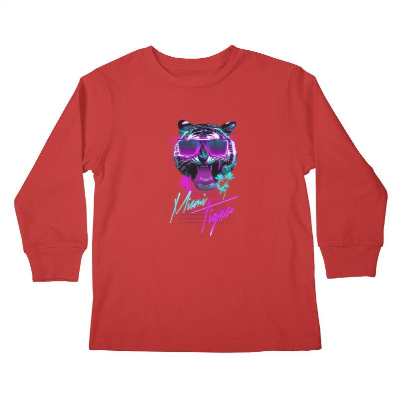 Miami tiger Kids Longsleeve T-Shirt by Astronaut's Artist Shop