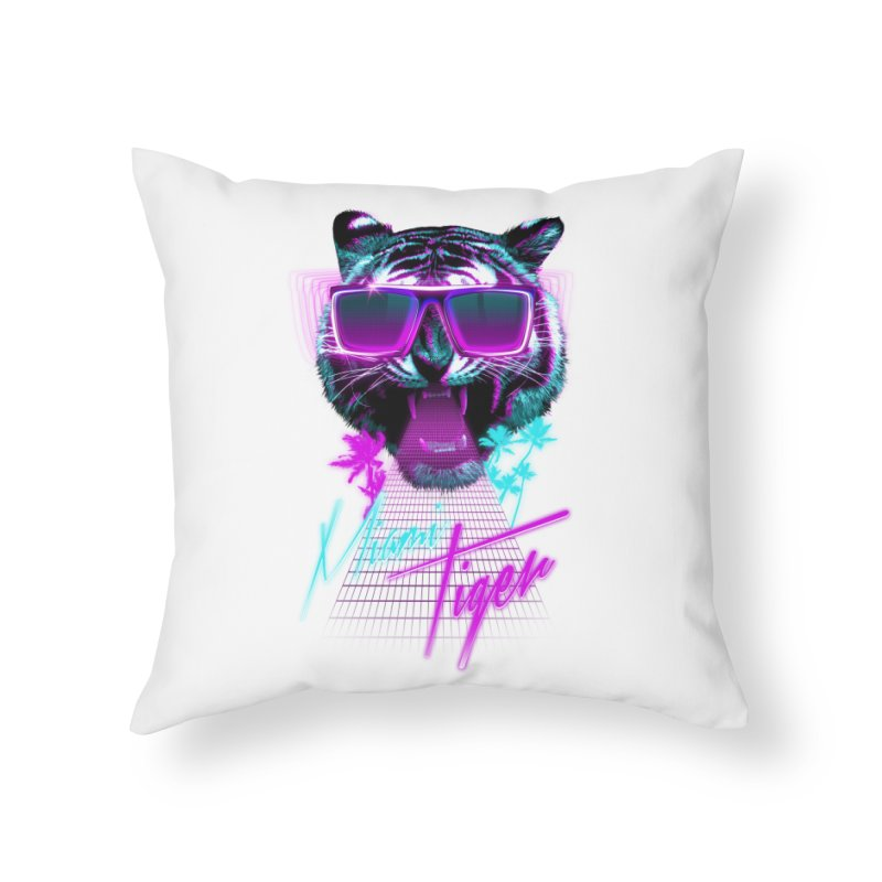 Miami tiger Home Throw Pillow by Astronaut's Artist Shop